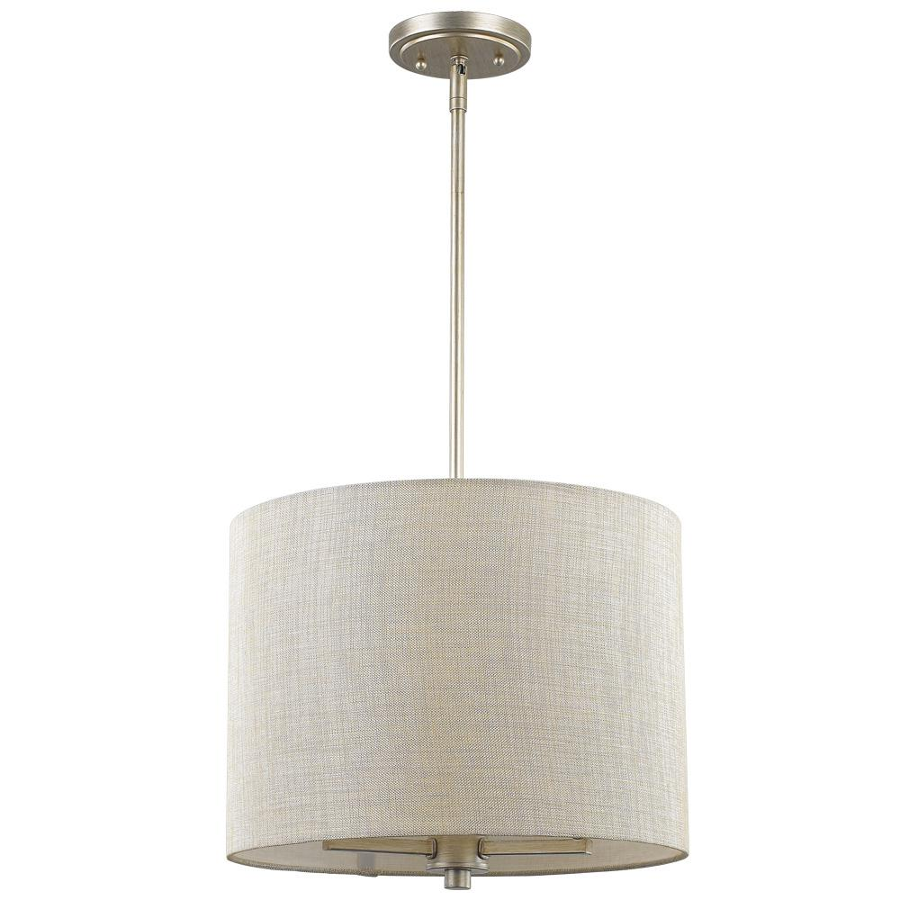 Acclaim Lighting Daria 3 Light Washed Gold Pendant With And White Drum Shade