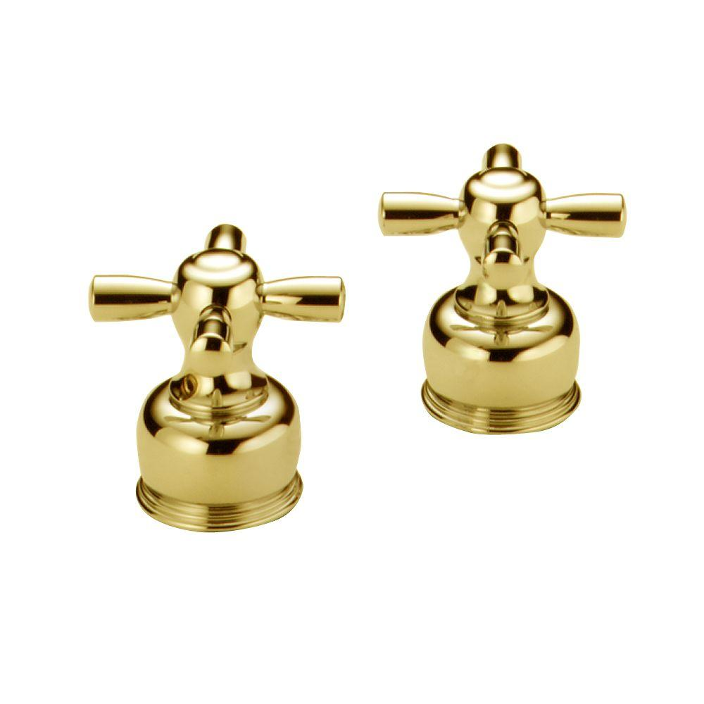 Delta Pair of Cross Handles in Polished Brass for 2-Handle Faucets-DISCONTINUED