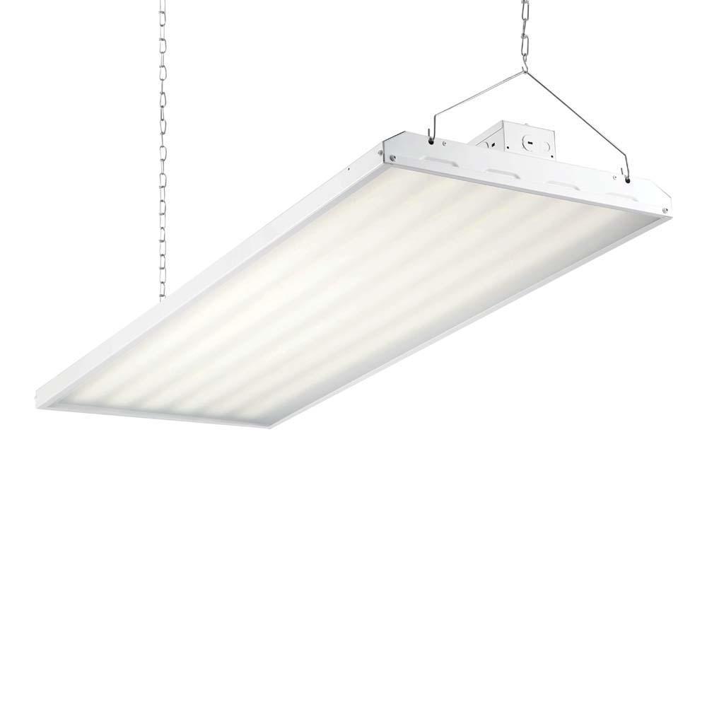 319-Watt 4 ft. White Integrated LED Backlit High Bay Hanging Light with 41,243 Lumens, 5000K