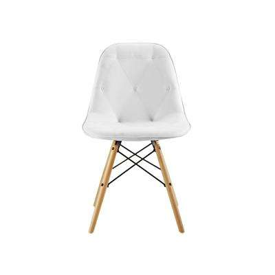 White Tufted Faux Leather Chairs (Set of 2)