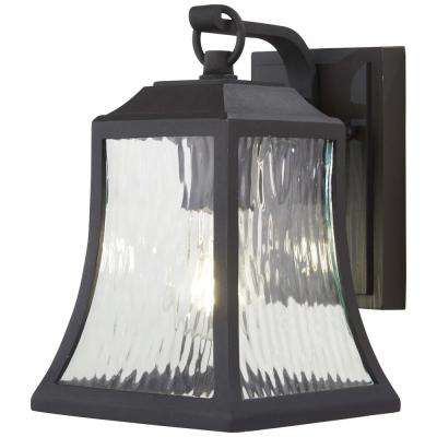 Cassidy Park 1-Light Black Outdoor Wall Mount Lantern with Clear Water Glass