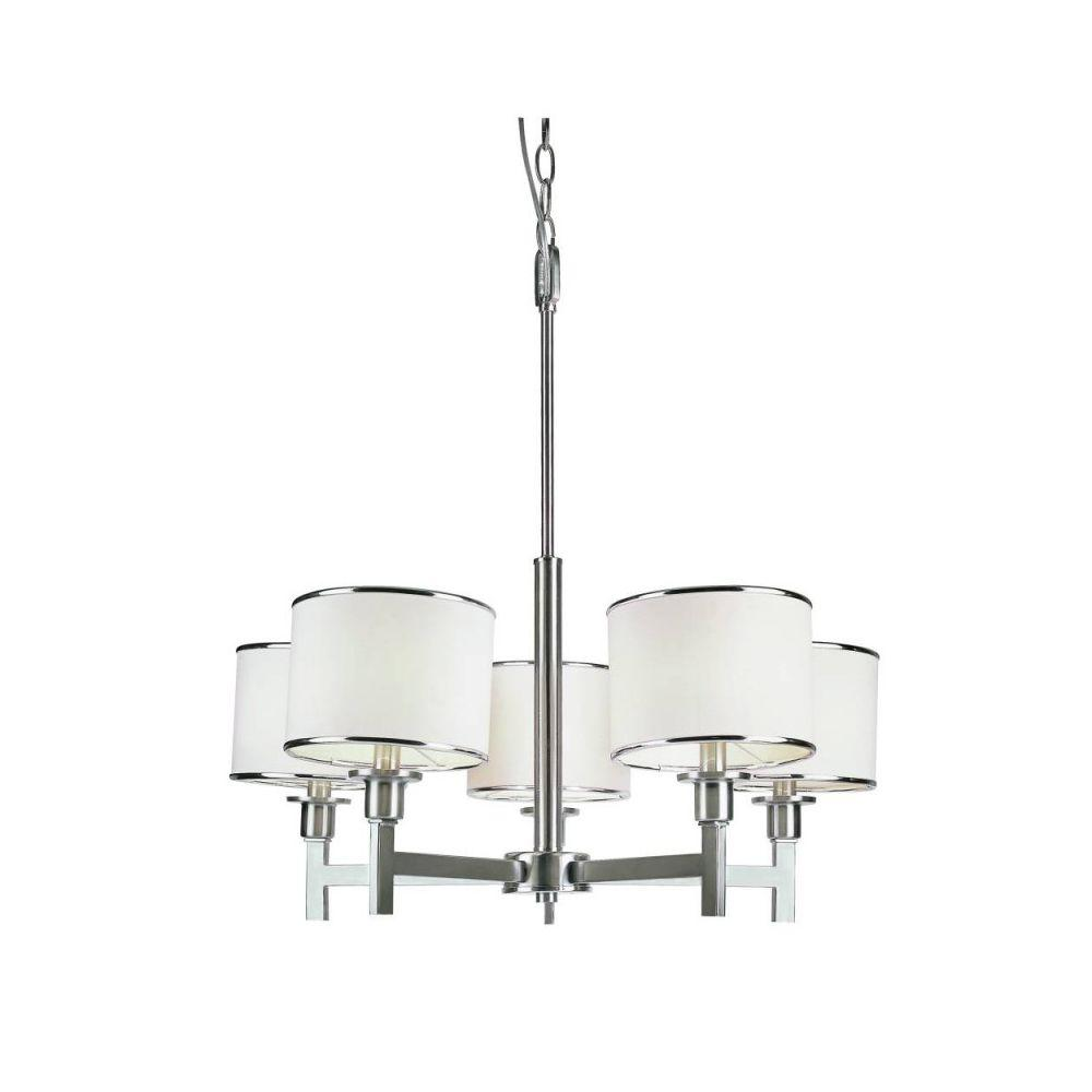 Bel Air Lighting Cabernet Collection 5 Light Brushed Nickel Chandelier With White Linen Shade