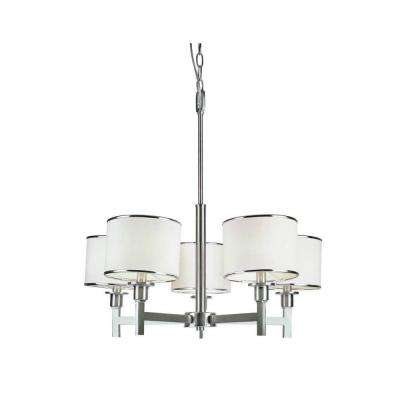 Cabernet Collection 5-Light Brushed Nickel Chandelier with White Linen Shade