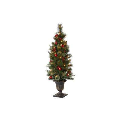 48 in. Indoor Pre-Lit Cedar and Pine Artificial Tabletop Tree