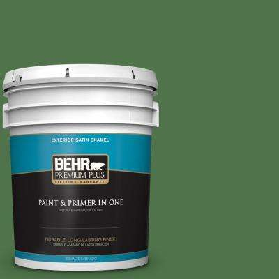 5 Gal. #MQ4 49 Emerald Forest Satin Enamel Exterior Paint And Primer In