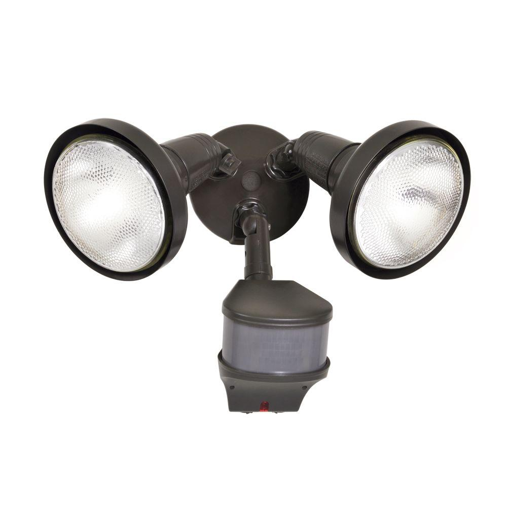 270-Degree Outdoor Bronze Motion Activated Sensor Security Flood Light with