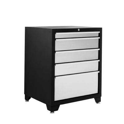 Pro Stainless Steel Series 34.5 in. H x 28 in. W x 24 in. D 5-Drawer Tool Chest Freestanding Cabinet in Silver