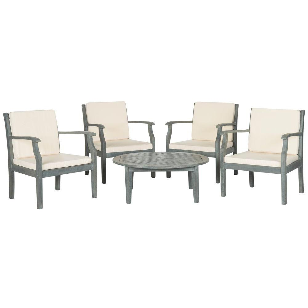 Anaheim Ash Gray 5-Piece Patio Seating Set with Beige Cushions