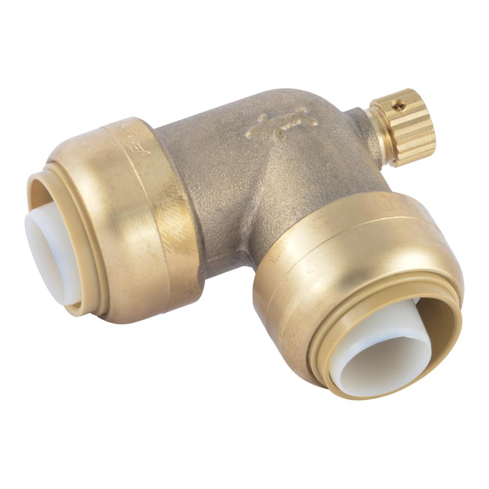 SharkBite SharkBite 3/4 in. Push-to-Connect Brass 90-Degree Elbow Fitting with Drain