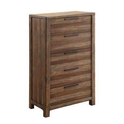 Hankinson 5-Drawers Rustic Natural Tone Transitional Style Chest