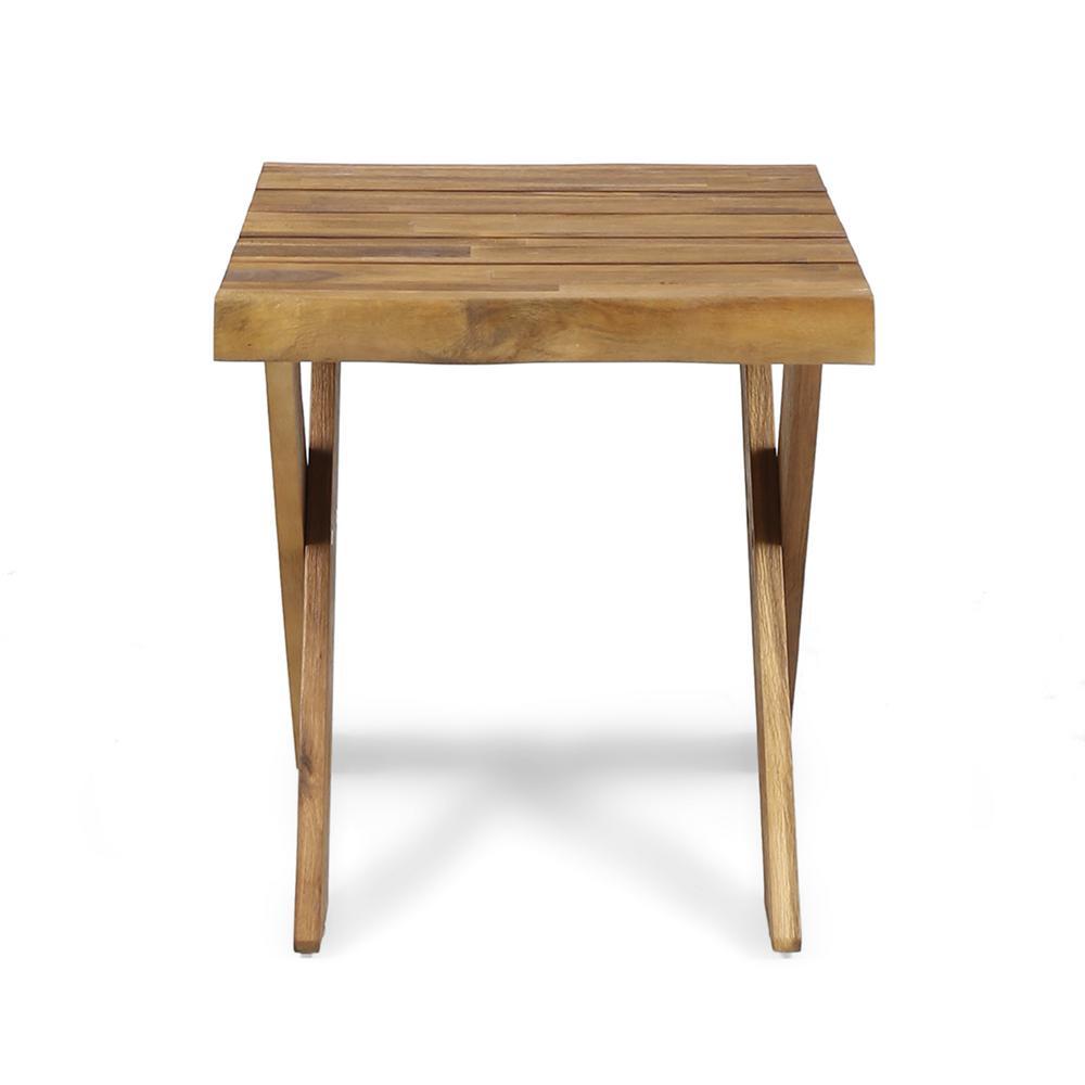 Esmeralda Farmhouse Teak Brown Acacia Wood Indoor Side Table