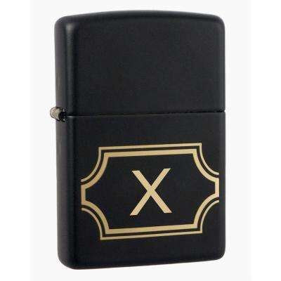 "Black Matte Lighter with Initial ""X"""