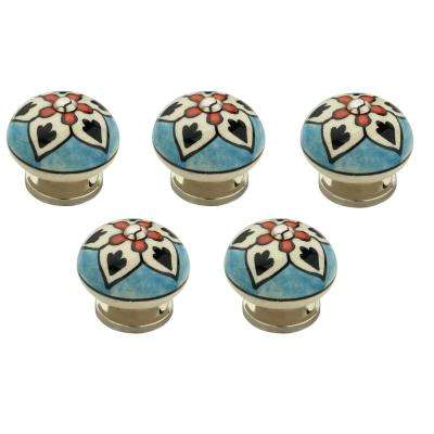 Flower 1-5/8 in. (42mm) Blue and Multicolor Cabinet Knob (Pack of 5)