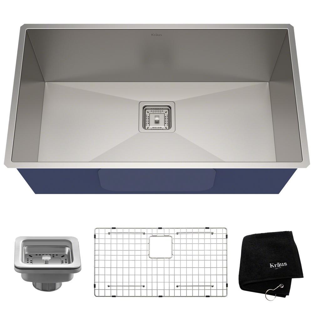 Pax Zero-Radius 31.5in. 16 Gauge Undermount Single Bowl Stainless Steel Kitchen Sink
