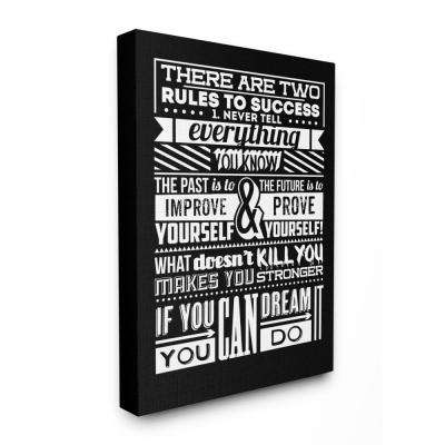 """30 in. x 40 in. """"Two Rules To Success Black and White Inspirational Typography"""" by TypeLike Canvas Wall Art"""