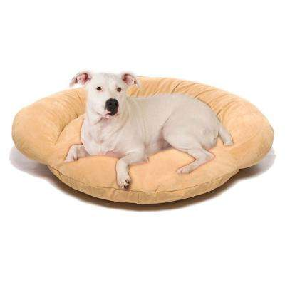 Medium Velvet Microfiber Bolster Pet Bed - Carmel