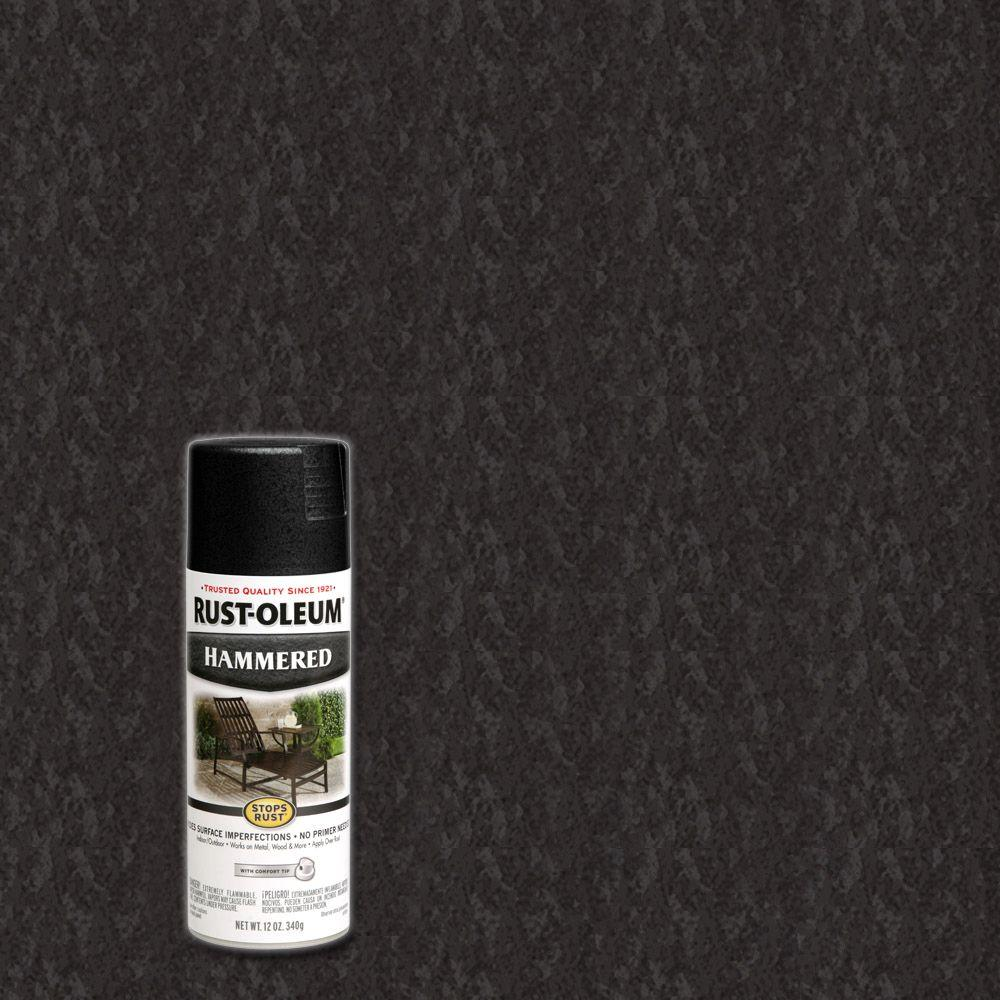 Rust oleum stops rust 12 oz protective enamel hammered black spray paint 7215830 the home depot Black spray paint
