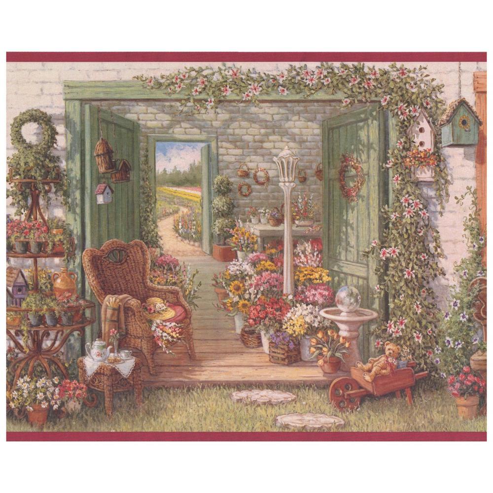 Retro Art Village Flower Shop Vintage Prepasted Wallpaper