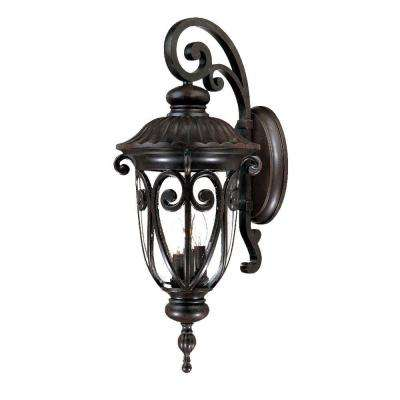 Naples Collection 3-Light Marbleized Mahogany Outdoor Wall-Mount Light Fixture