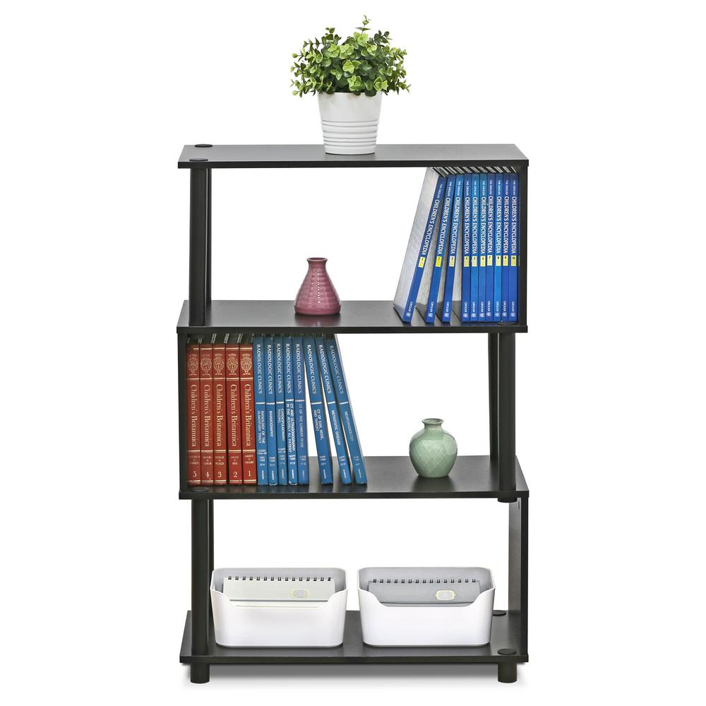 Flexi Espresso Modern Design 3-Shelf Open Bookcase