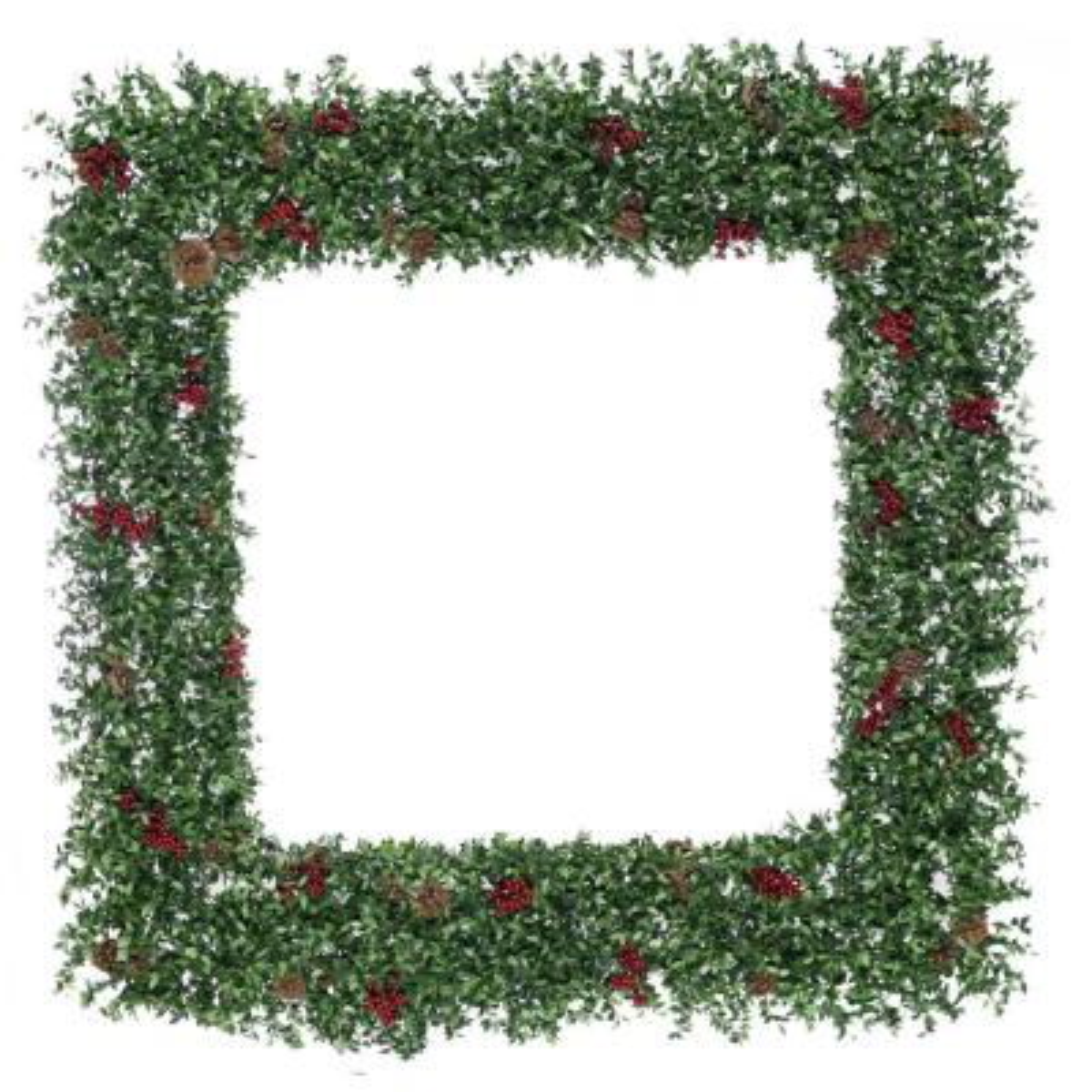 48 in. Evergreen Berry Wreath Arrangement with Pine Cones and Berries