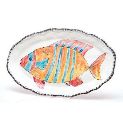 Napoli Striped Fish Ceramic Platter