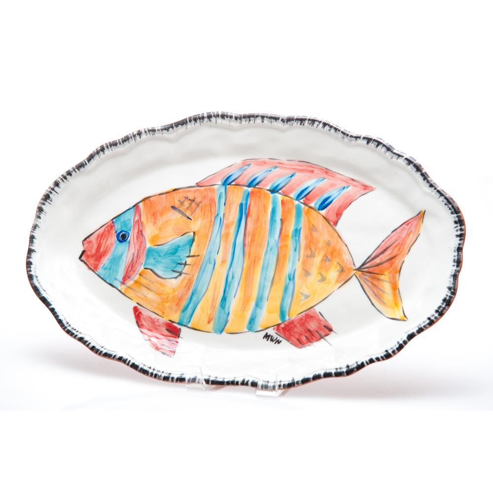 Napoli Striped Fish Ceramic Platter