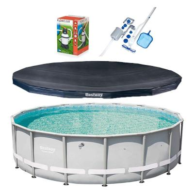 16 ft. Power Steel Pro Hard Side Frame Pool and Cover with Filter Pump and Cleaning Kit