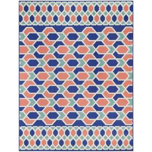 Star Links Teal/Coral 7 ft. 10 in. x 10 ft. Geometric Indoor/Outdoor Area Rug