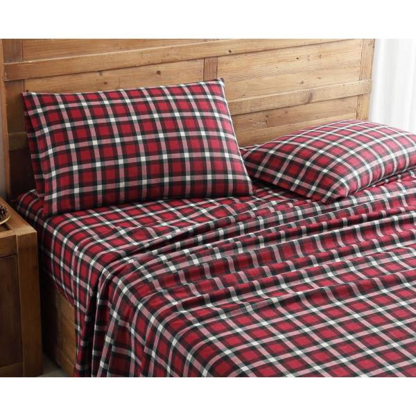 Morgan Home Geraldine 100% Cotton Red Flannel Queen Sheet Set M597442