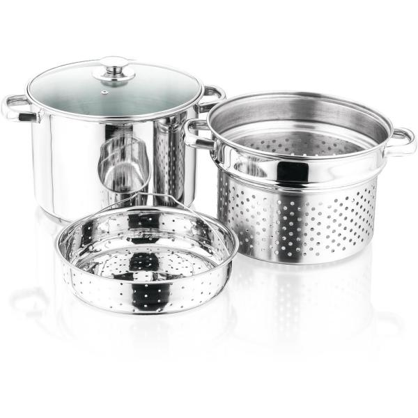 4-Piece Imperial Home 8-Quart Stainless Steel Stockpot Set