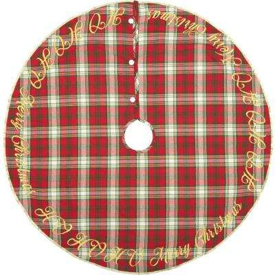 48 in. Holiday Cherry Red Farmhouse Christmas Decor Tree Skirt