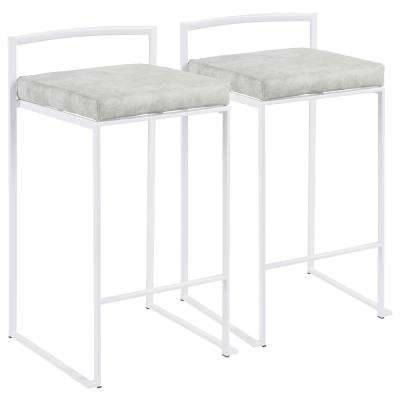 Fuji 26 in. White Stackable Counter Stool with Light Grey Cowboy Fabric Cushion (Set of 2)