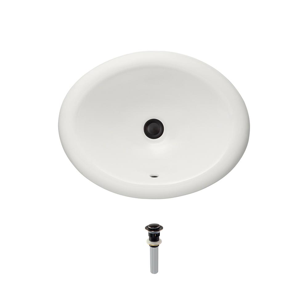 Overmount Porcelain Bathroom Sink in Bisque with Pop-Up Drain in Antique