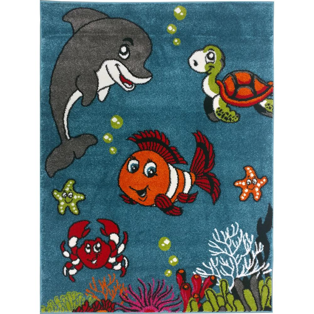 Exceptional Multi Color Kids Children And Teen Bedroom Playroom Clown Fish And Sea  School Friends 4 Ft. X 5 Ft. Area Rug