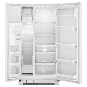 whirlpool side by side refrigerator white. +4. whirlpool 33 in. w 21.2 cu. ft. side by refrigerator in white