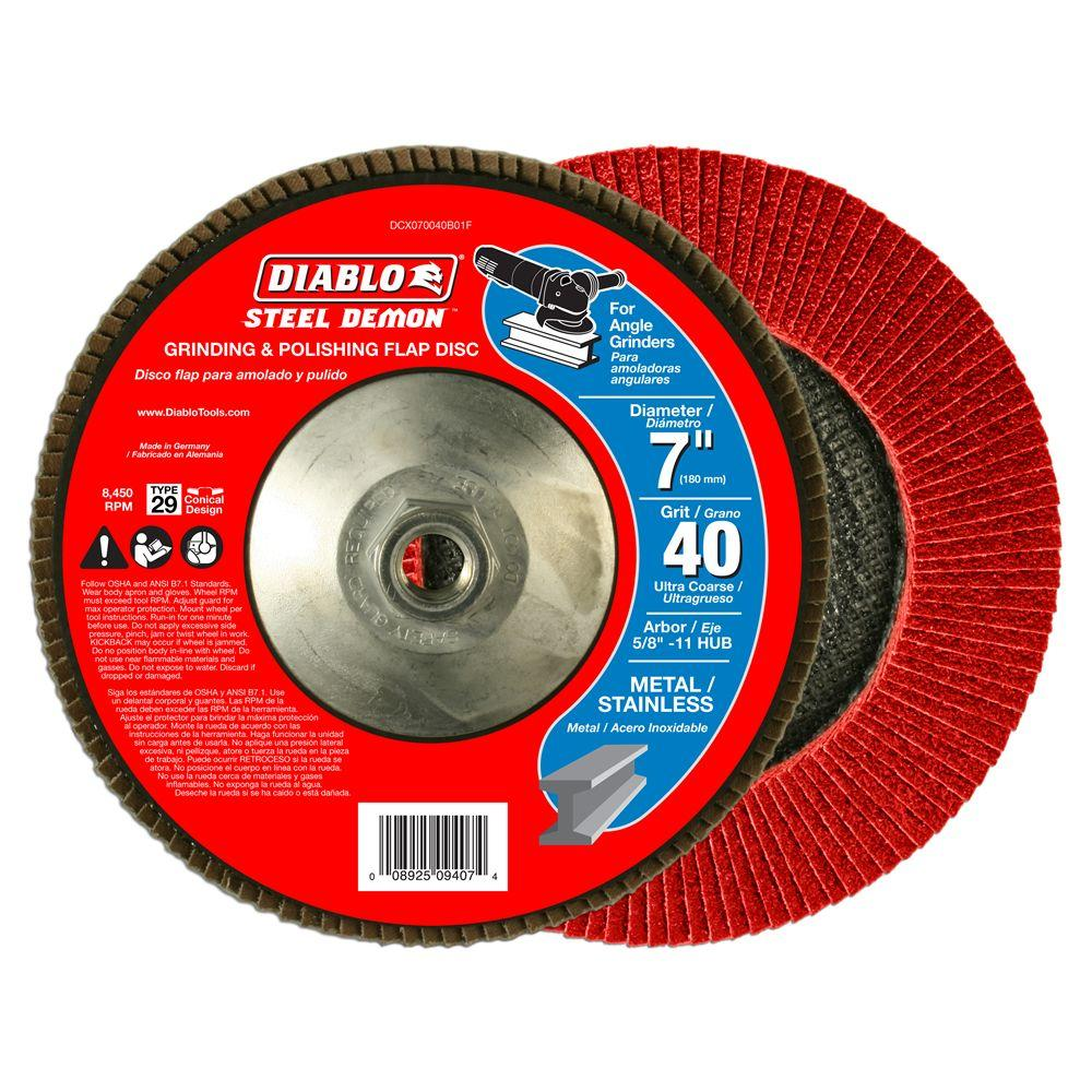 Diablo 7 in. 40-Grit Steel Demon Grinding and Polishing Flap Disc with 5/8 in. 11 HUB and Type 29 Conical Design