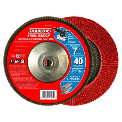 7 in. 40-Grit Steel Demon Grinding and Polishing Flap Disc with 5/8 in. 11 HUB and Type 29 Conical Design