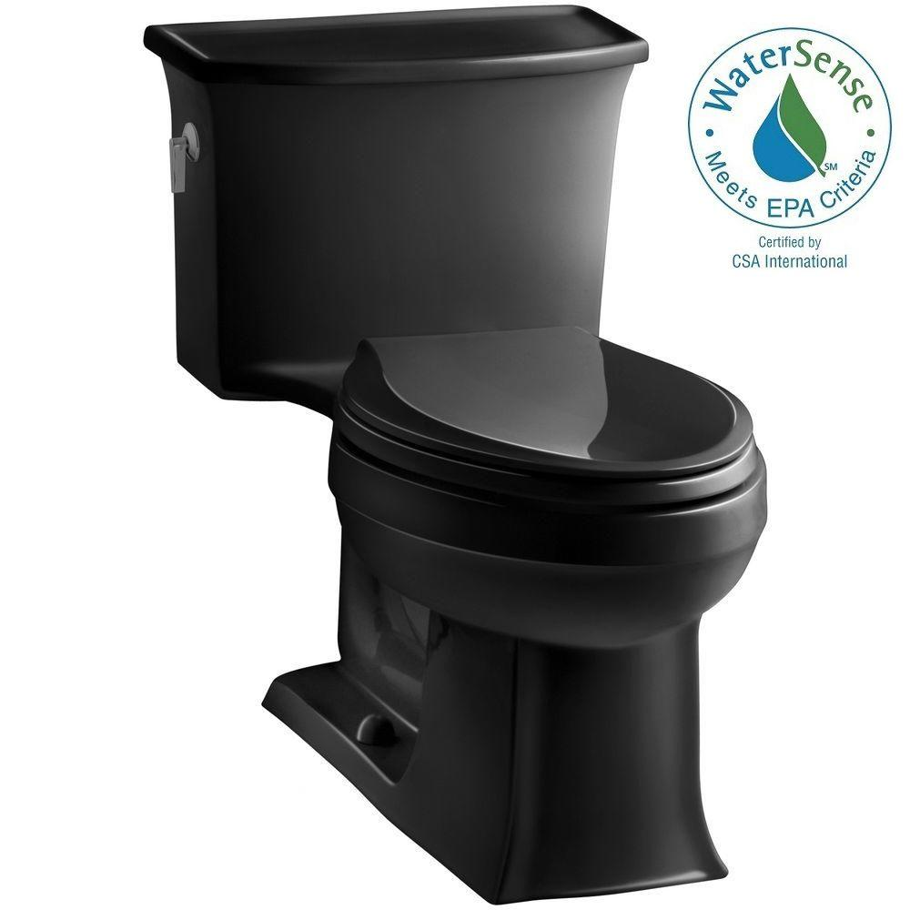 KOHLER Archer 1-piece 1.28 GPF Single Flush Elongated Toilet in Black Black