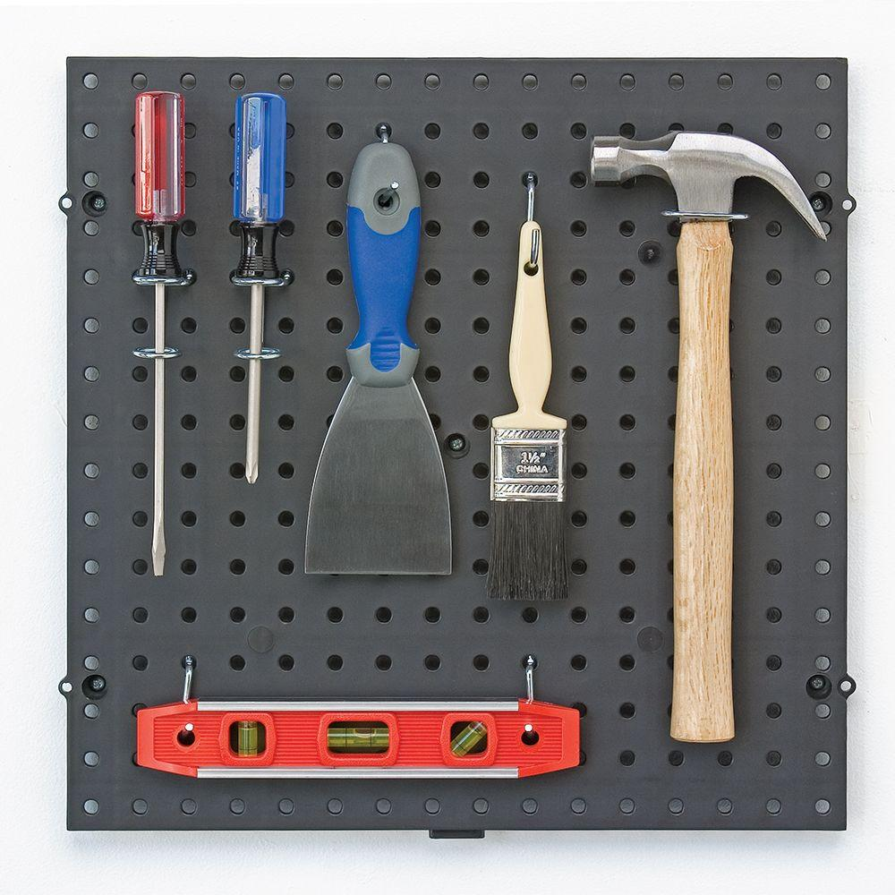 Everbilt 16 in. x 16 in. Interconnecting Plastic Pegboard in Black 50 lbs