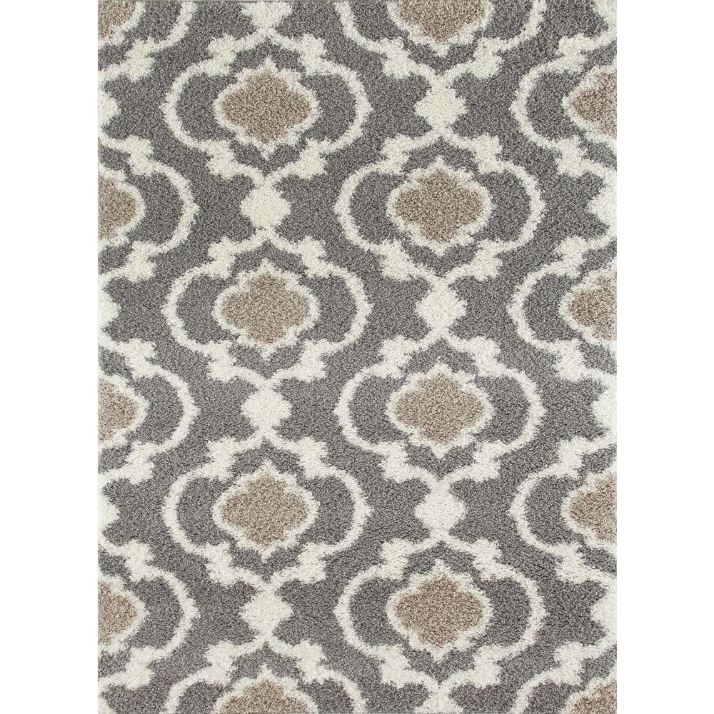 World Rug Gallery Cozy Moroccan Trellis Gray Cream 5 ft x 7 ft