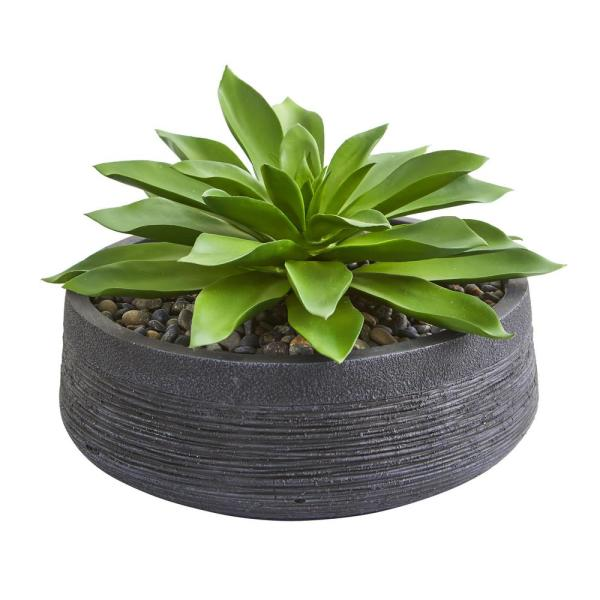 Indoor Large Succulent Artificial Plant in Decorative Bowl