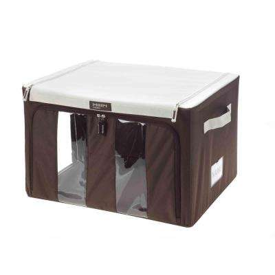 16 in. x 9 in. Collapsible Medium Storage Bin with Handles in Brown and White