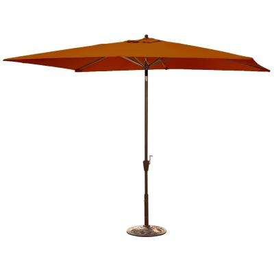 Adriatic 6.5 ft. x 10 ft. Rectangular Market Auto-Tilt Patio Umbrella in Terra Cotta Sunbrella Acrylic