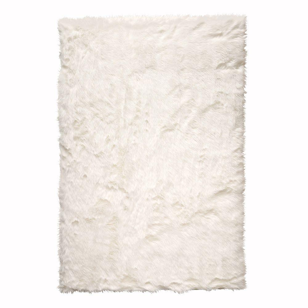 Home Decorators Collection Faux Sheepskin White 5 Ft X 8