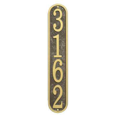 Fast and Easy Vertical House Number Plaque, Bronze/Gold