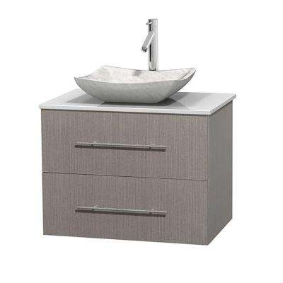 Centra 30 in. Vanity in Gray Oak with Solid-Surface Vanity Top in White and Sink