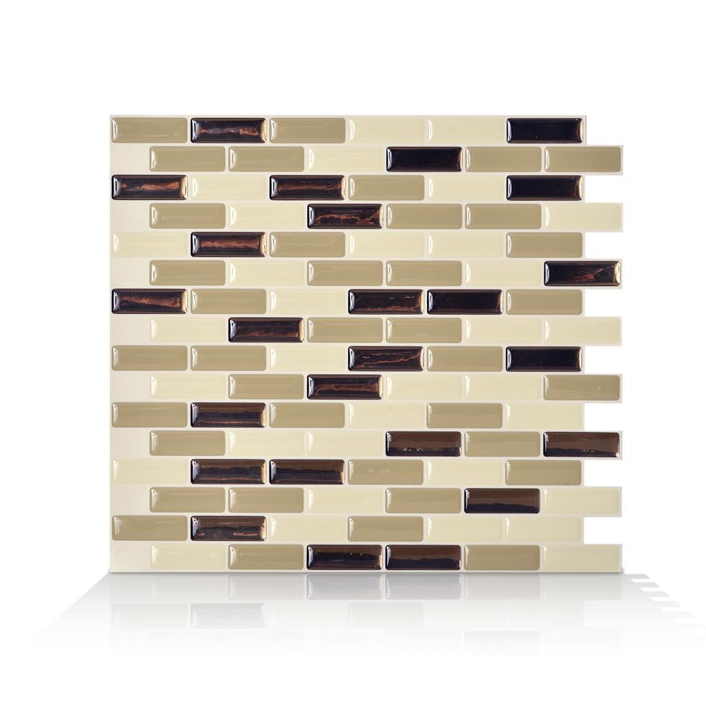 SmartTiles Smart Tiles Murano Dune 10.20 in. x 9.10 in. Peel and Stick Decorative Wall Tile Backsplash in Beige (12-Pack), Bronze (Metallic)/ Ivory/ Warm Beige