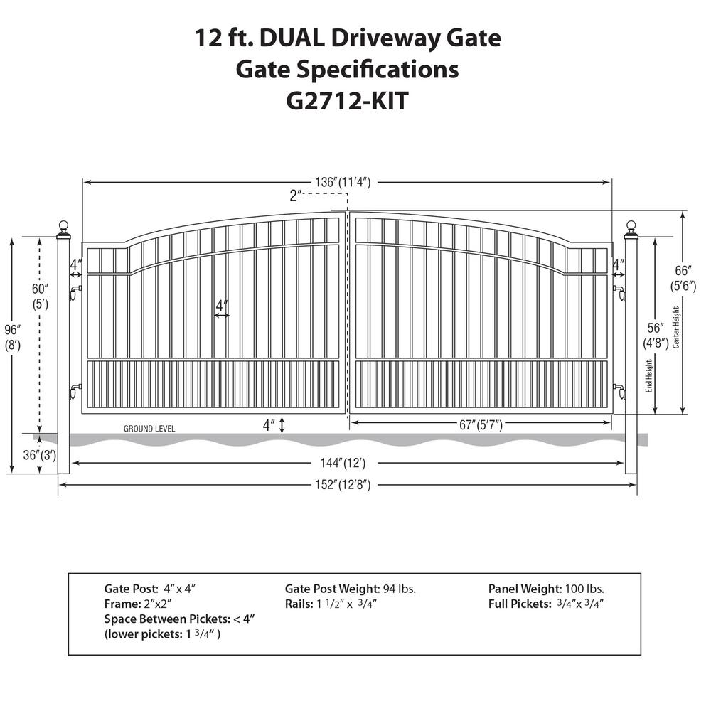 Mighty Mule Biscayne 12 ft  W x 5 ft  H 6 in  Powder Coated Steel Dual  Driveway Fence Gate