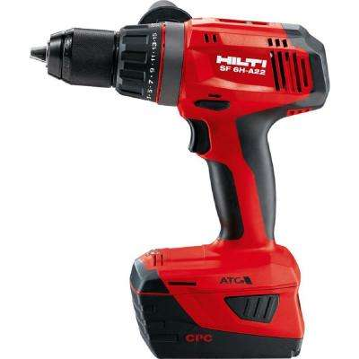 22-Volt Lithium-Ion 1/2 in. Cordless Hammer Drill Driver SF 6H with DC Car Charger